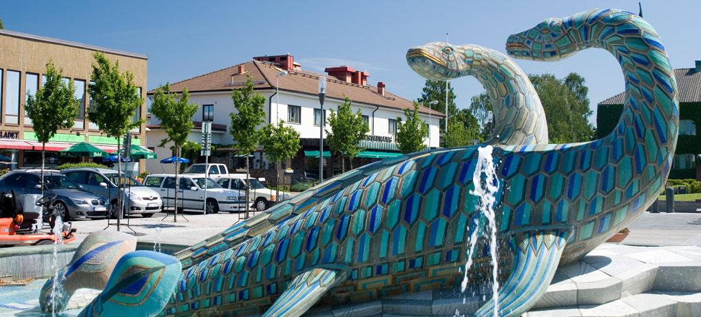 Scanisaurus Fontän på Bromölla Torg
